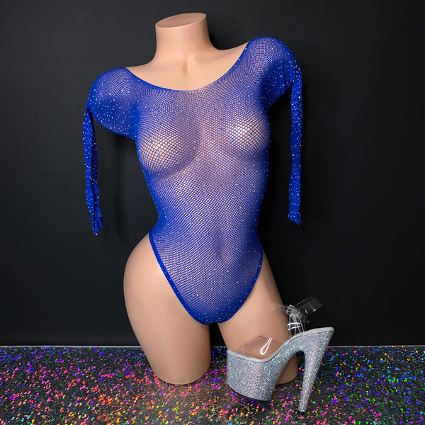 Royal Blue Rhinestone Fishnet Bodysuit - Golddiggers Boutique