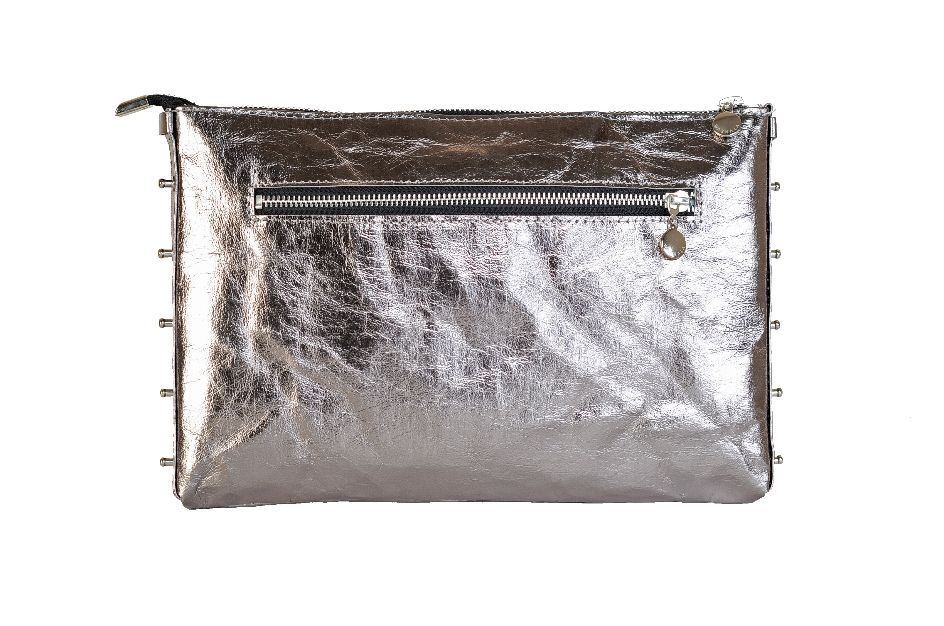 BIG SHINY GREY CROSSBODY BAG