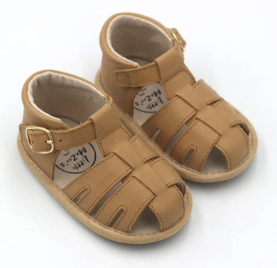 Little MaZoe's Brown Wax Leather Sandal