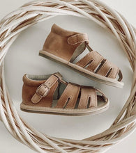 Load image into Gallery viewer, Little MaZoe's Brown Wax Leather Sandal