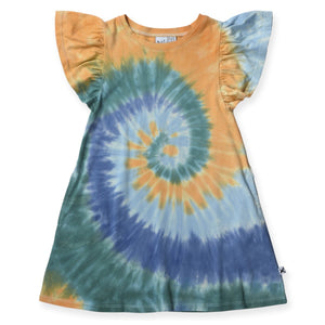 Swirly Dress - Blues/Teal/Orange