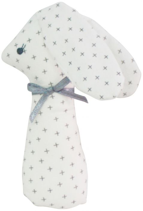 Alimrose Standing Bunny Rattle Grey Cross