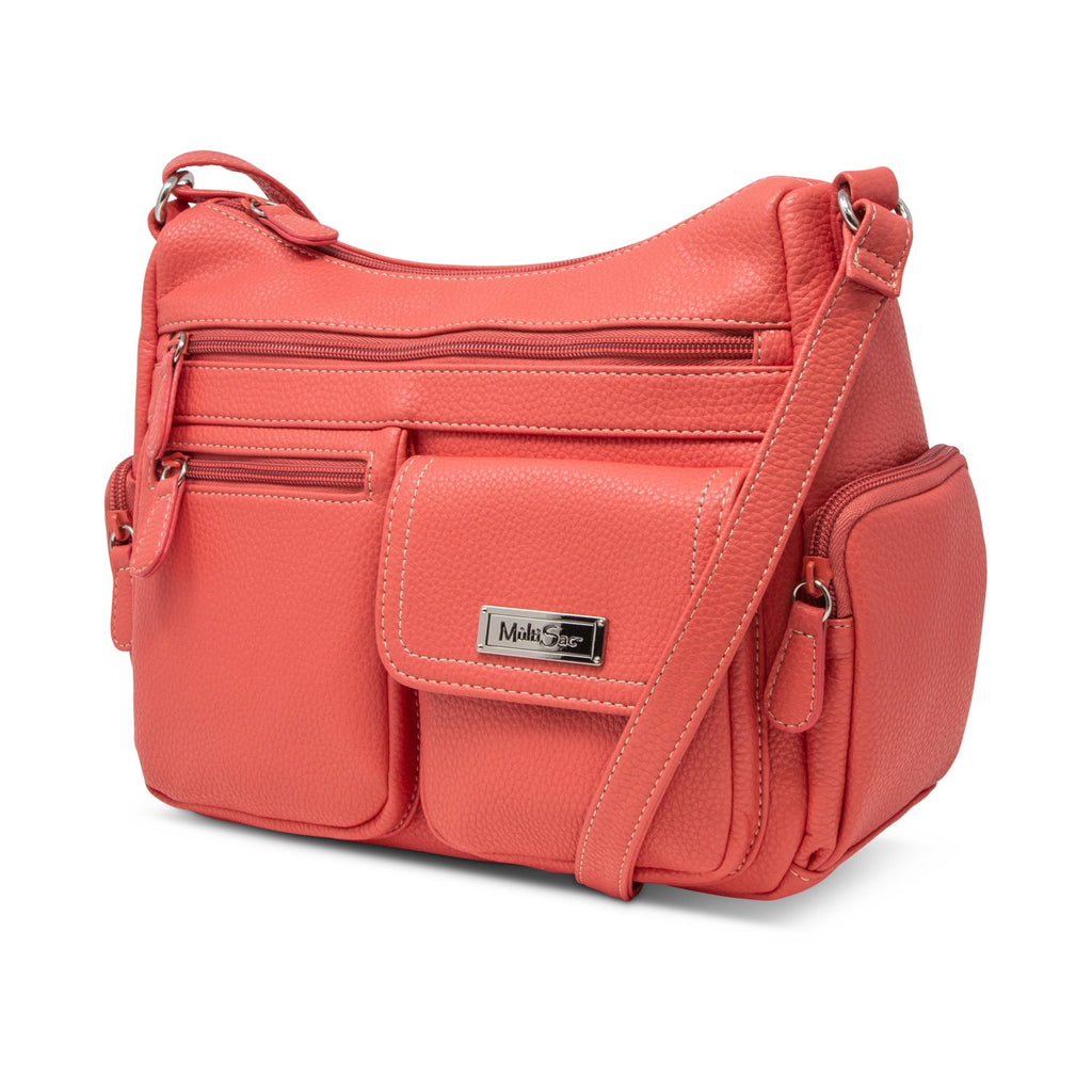 Houston Coho Crossbody Hobo Bag - Women's Shoulder Bags - Organizer handbags- Women's Purse - Multiple Pockets - School Bags - Work bags - MultiSac Handbags - Vegan Leather Bags - Coral Pink