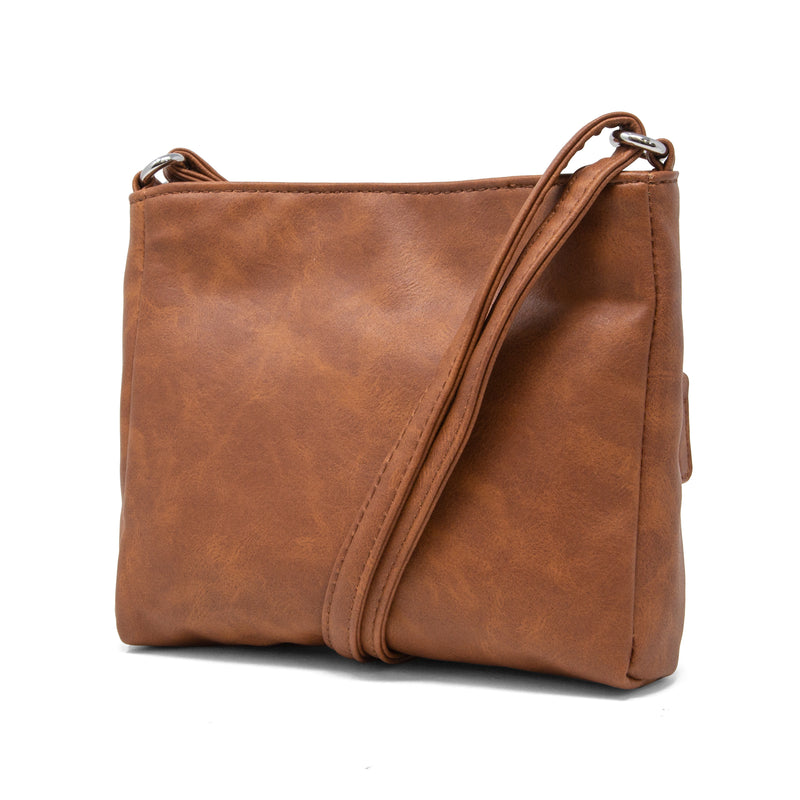 Cheyanne Mini  Crossbody Bag - MultiSac Handbags - Women's Crossbody Bags - Multiple Pockets - Organizer Bags - Small Crossbody Bag - Brown Pecan