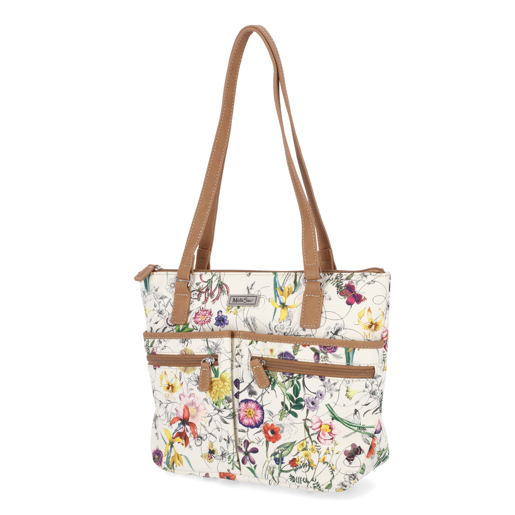 Essex Tote Bag - MultiSac Handbags - Women's Tote Bags - Mom Bags - Shoulder Bags - Organizer Bags - Multiple Pockets - Vienna Floral / Hazelnut