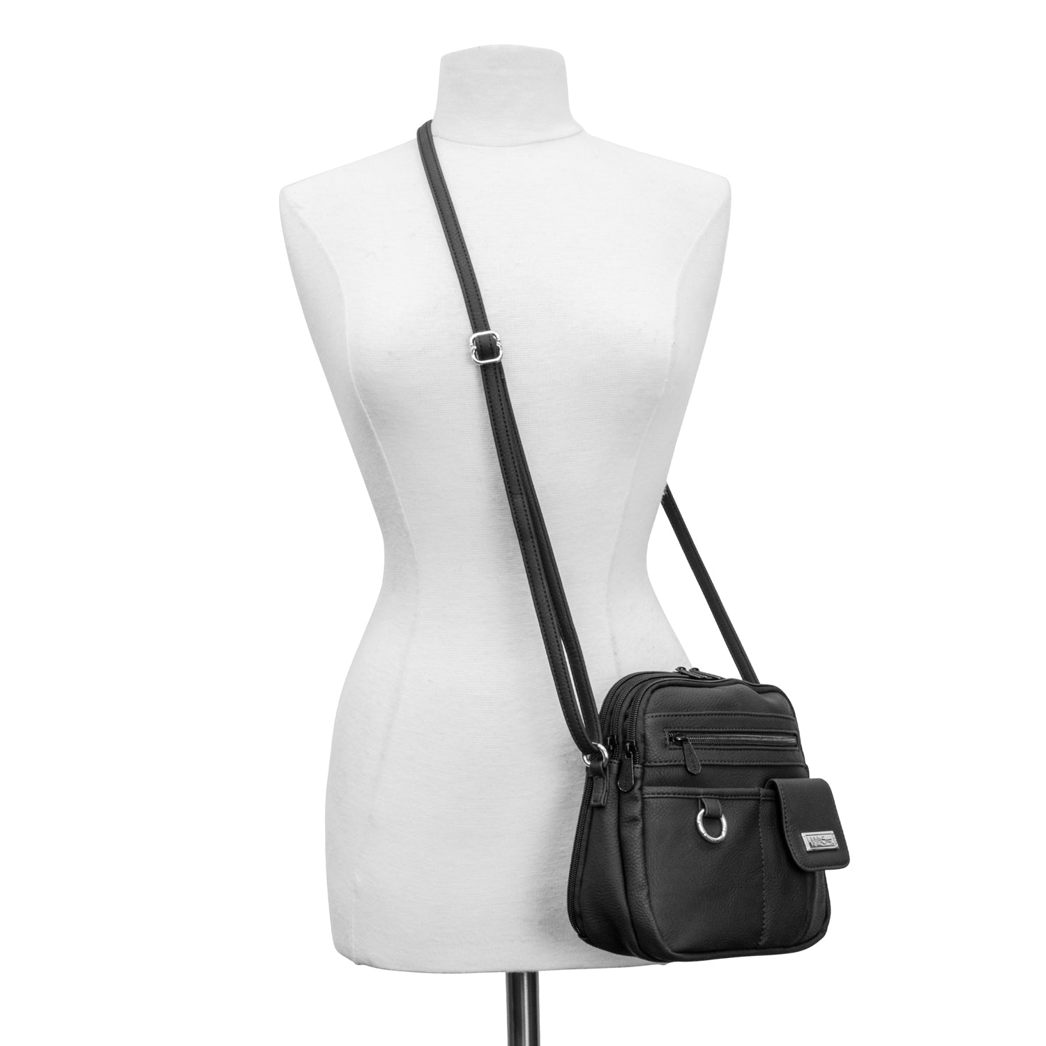 North South Mini Zip Around Crossbody Bag (Black)