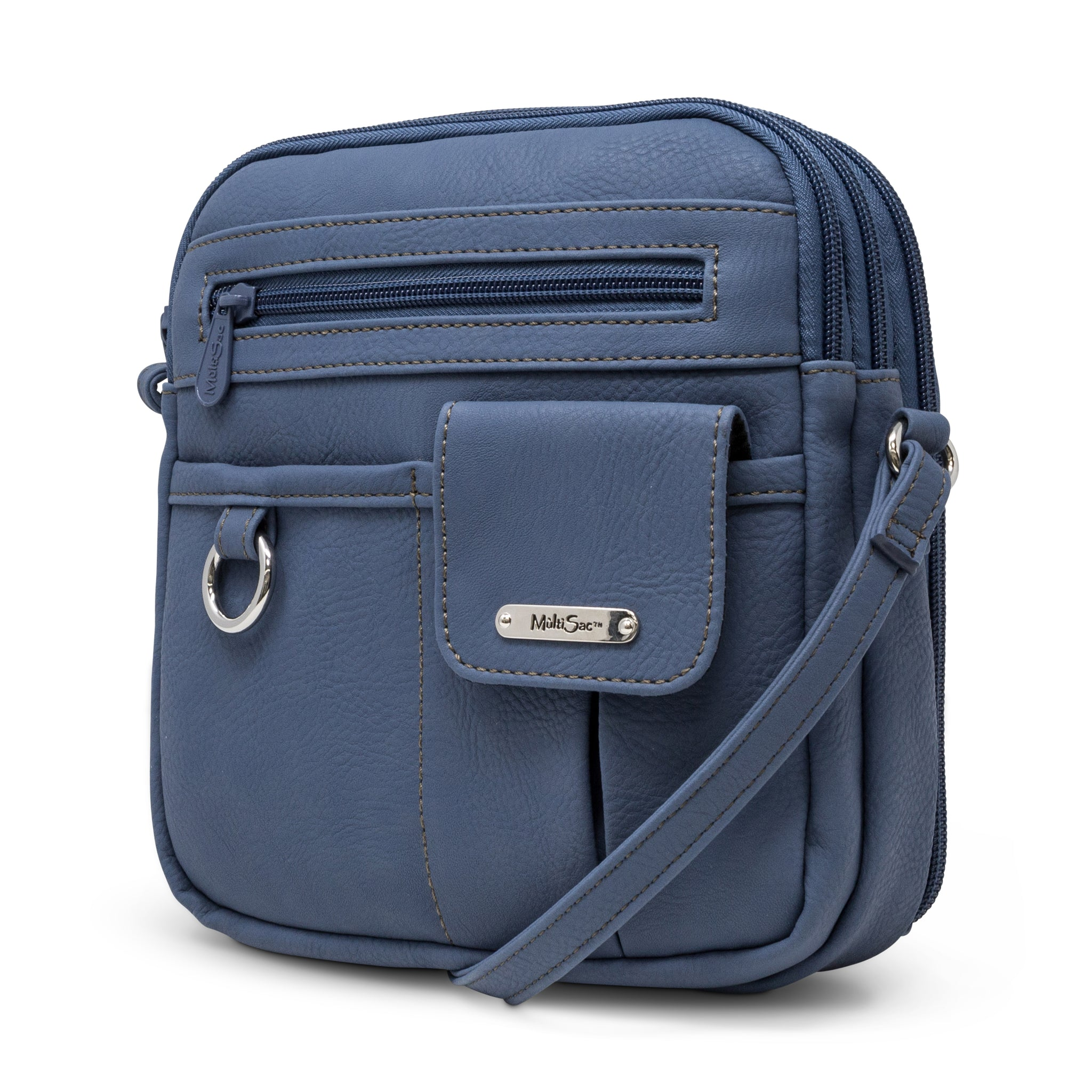 North South Mini Zip Around Crossbody Bag (Denim)