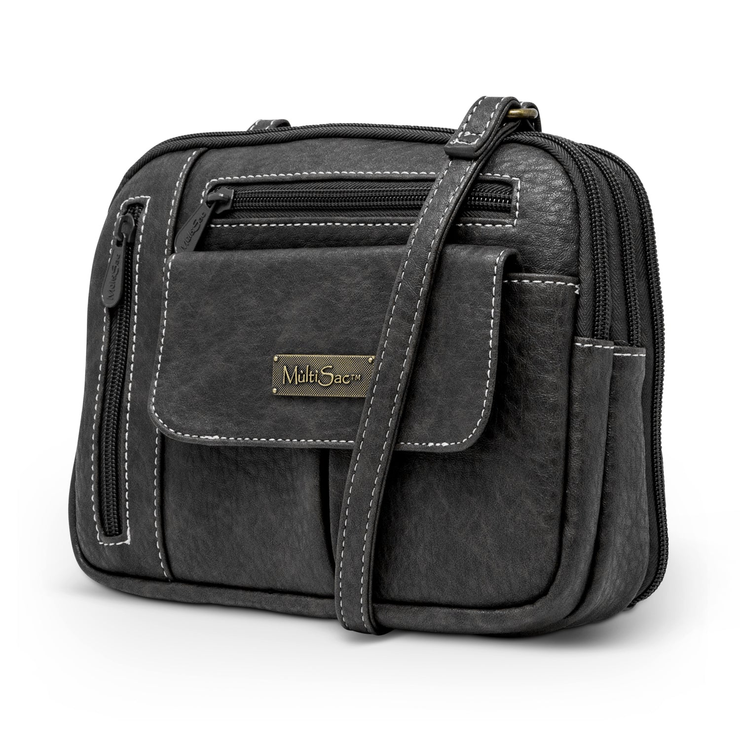 Zippy Triple Compartment Crossbody Bag (Black Austin)