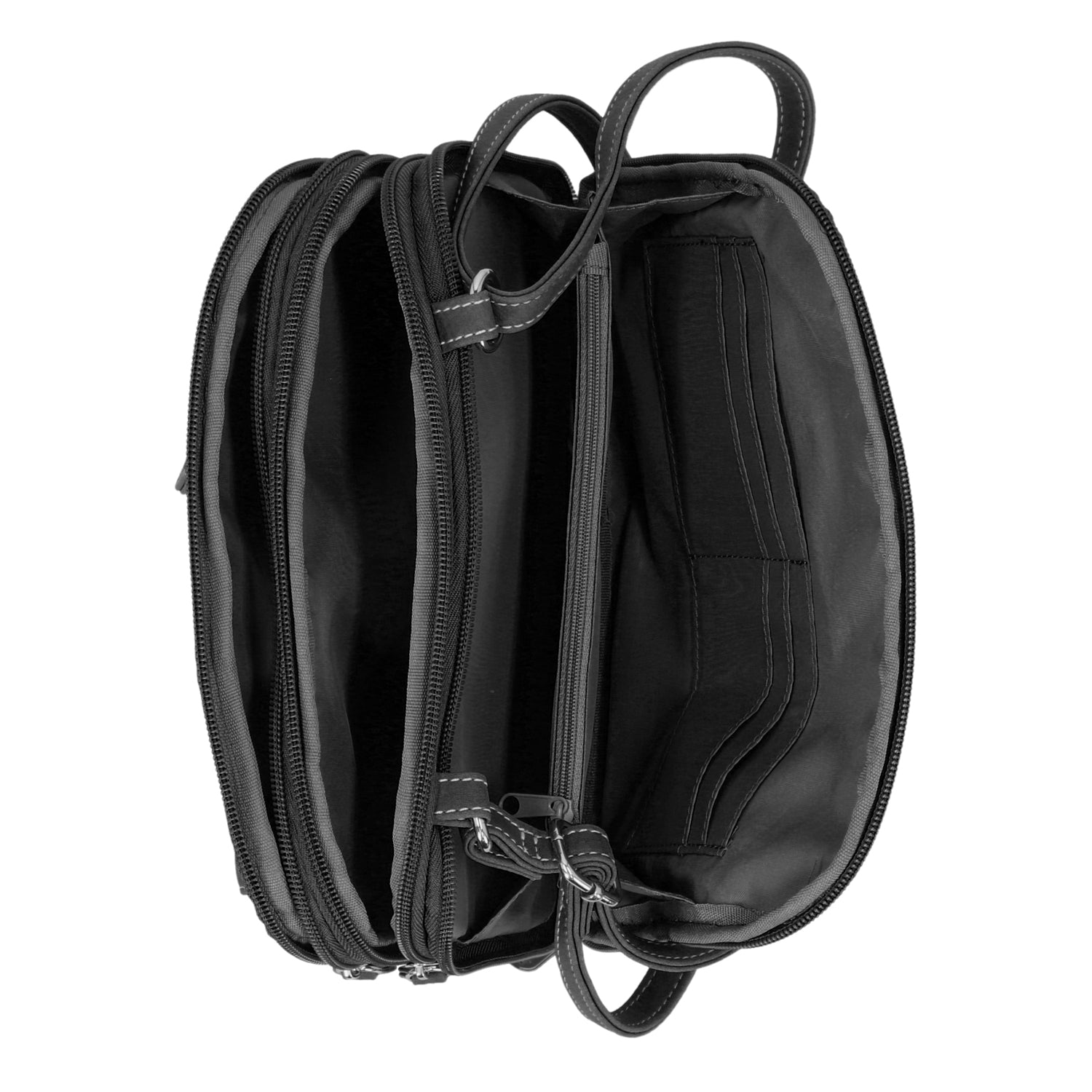 Zippy Triple Compartment Crossbody Bag (Black)