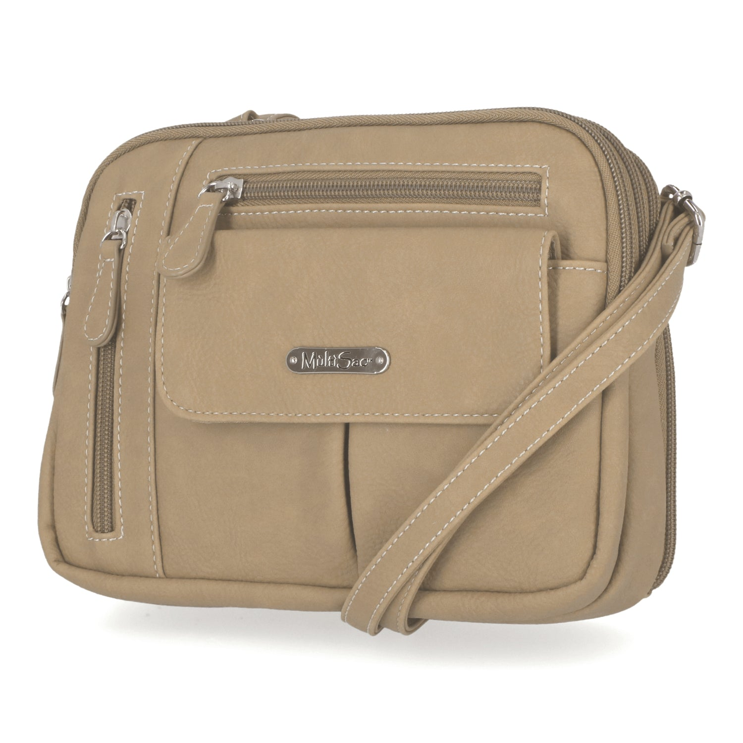 Zippy Triple Compartment Crossbody Bag (Chino)