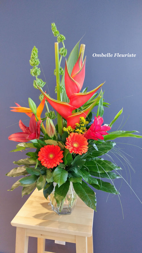 Bouquet exotique heliconia ginger gerberas