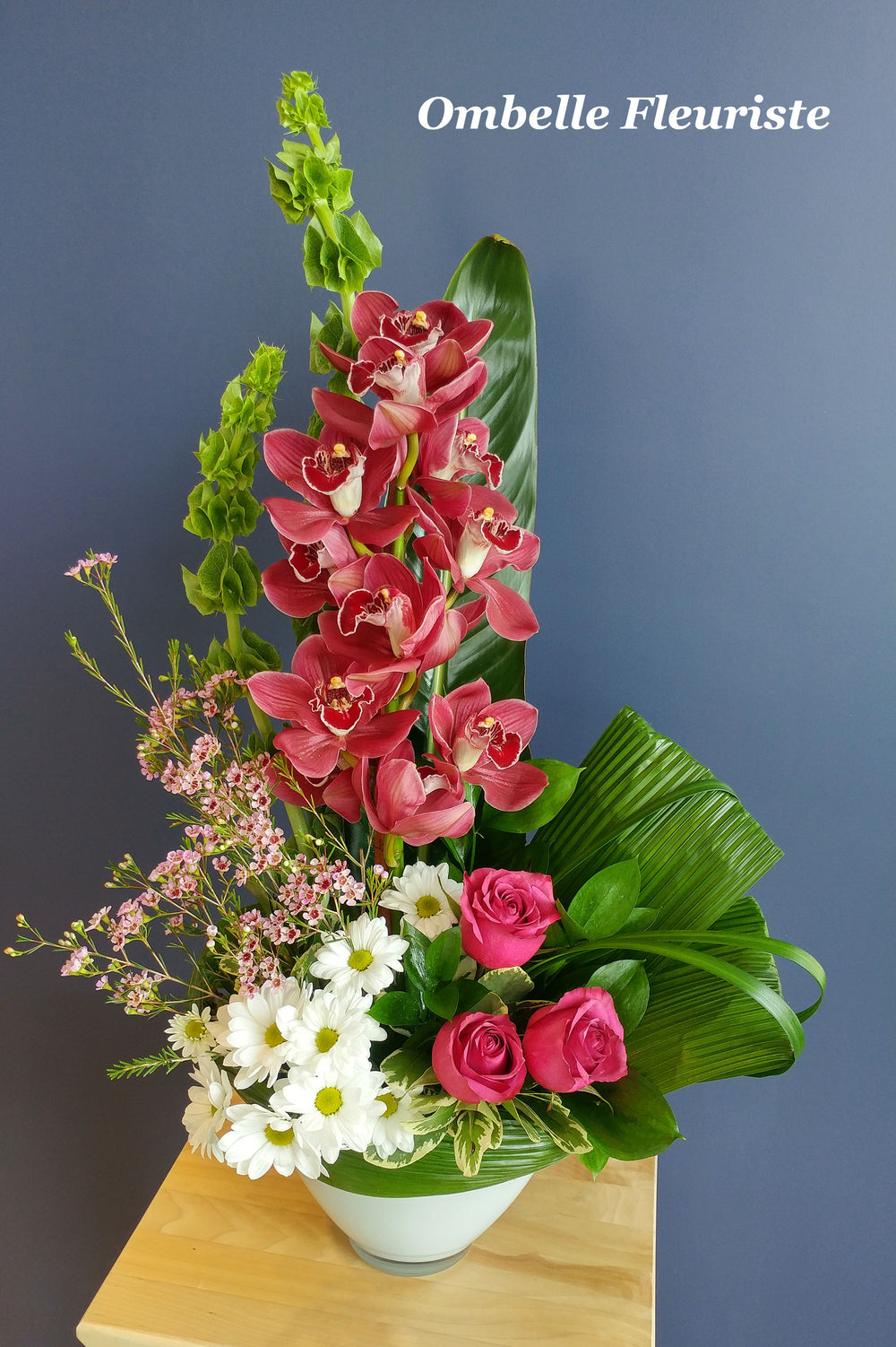 arrangement floral orchidee marguerite rose
