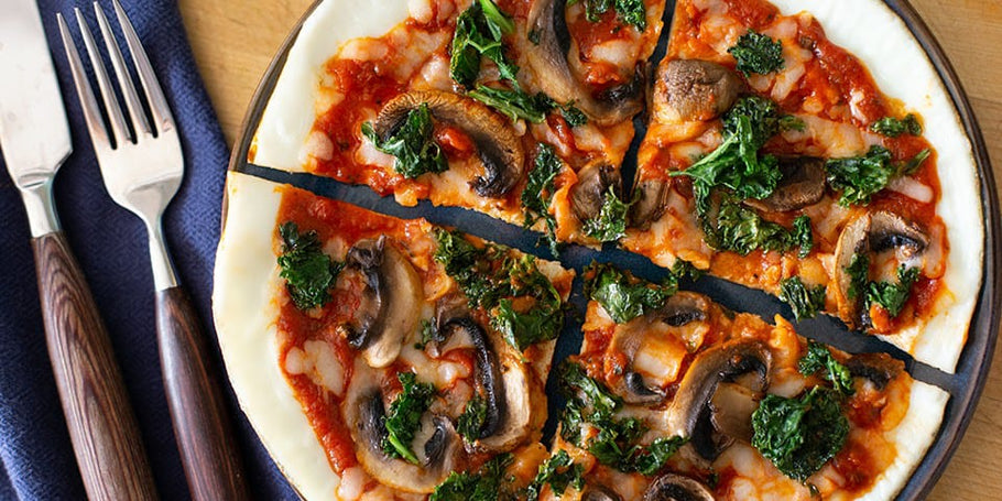 Cheesy Egg White, Kale & Mushroom Pizza