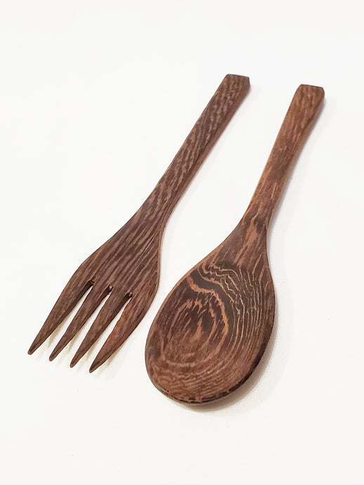 Ebony Wood Fork and Spoon Set