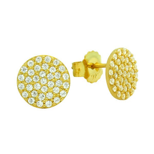 Micro Pave Disc Stud Earrings