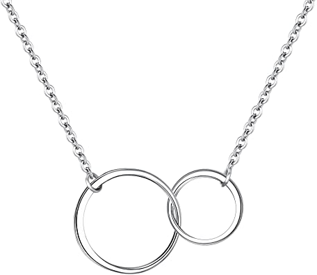 Interlocking Circle Necklace Silver