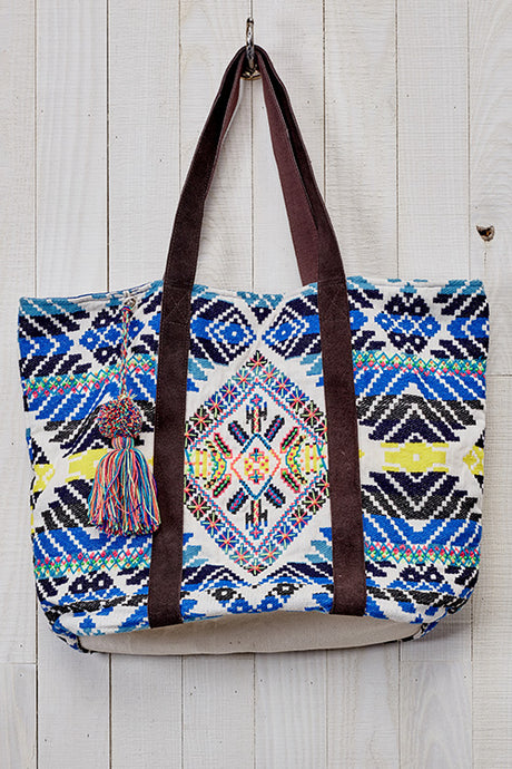 Aztec Beaded Oversized Tote