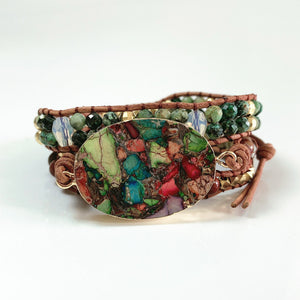 Gemstone Double Strand Leather Wrap Bracelet