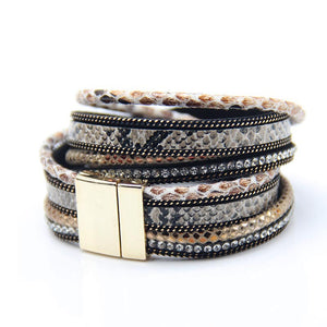 Snake Skin Print Leather Wrap Bracelet