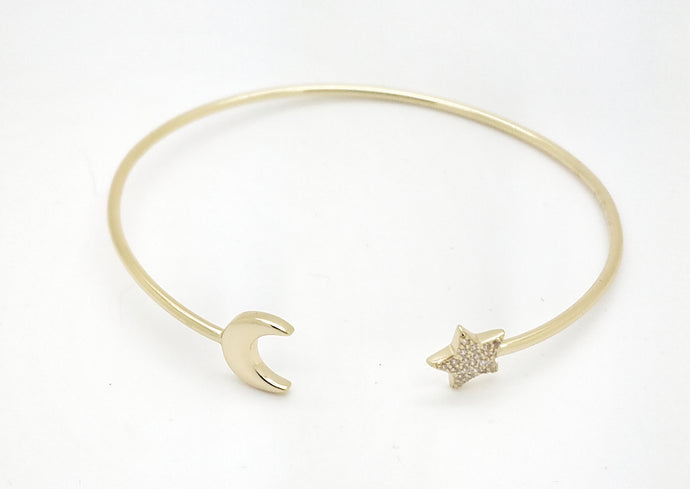 Sterling Silver Moon & Star Cuff