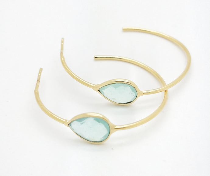 Posh Rocks - Hoop & Teardrop-Shaped Gemstone Earrings