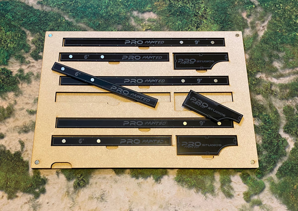 MDF Gaming Tray - 3x Movement Tools & 3x Magnetic Measuring Sticks Set