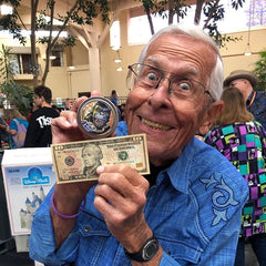 Bob Gurr, the man who designed the King Kong animatronic, with our Banana Breath candle!