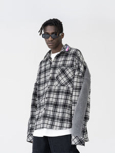 Plaid Woolen Stitched Shirt Jacket