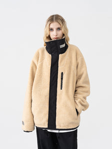 High Collar Logo Sherpa Jacket