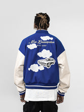 Load image into Gallery viewer, Embroidered Clouds Woolen Varsity Jacket