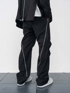 Straight Pleated Flared Trousers