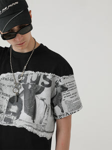 Old Newspaper Printed Tee