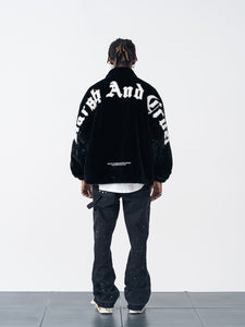 Embroidered Logo Faux Fur Jacket