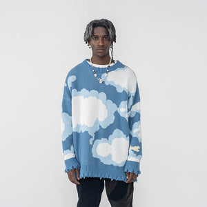 Blue Sky Ripped Sweater