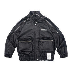 Zipper Logo Leather Jacket