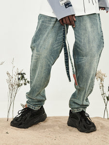Washed Belt Straight Denim