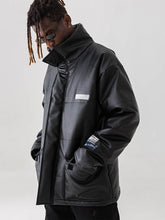 Load image into Gallery viewer, High Collar Leather Down Jacket