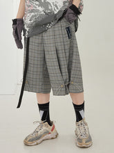 Load image into Gallery viewer, Plaid Belt Adjustable Shorts