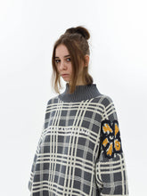 Load image into Gallery viewer, Plaid Flowers Turtleneck