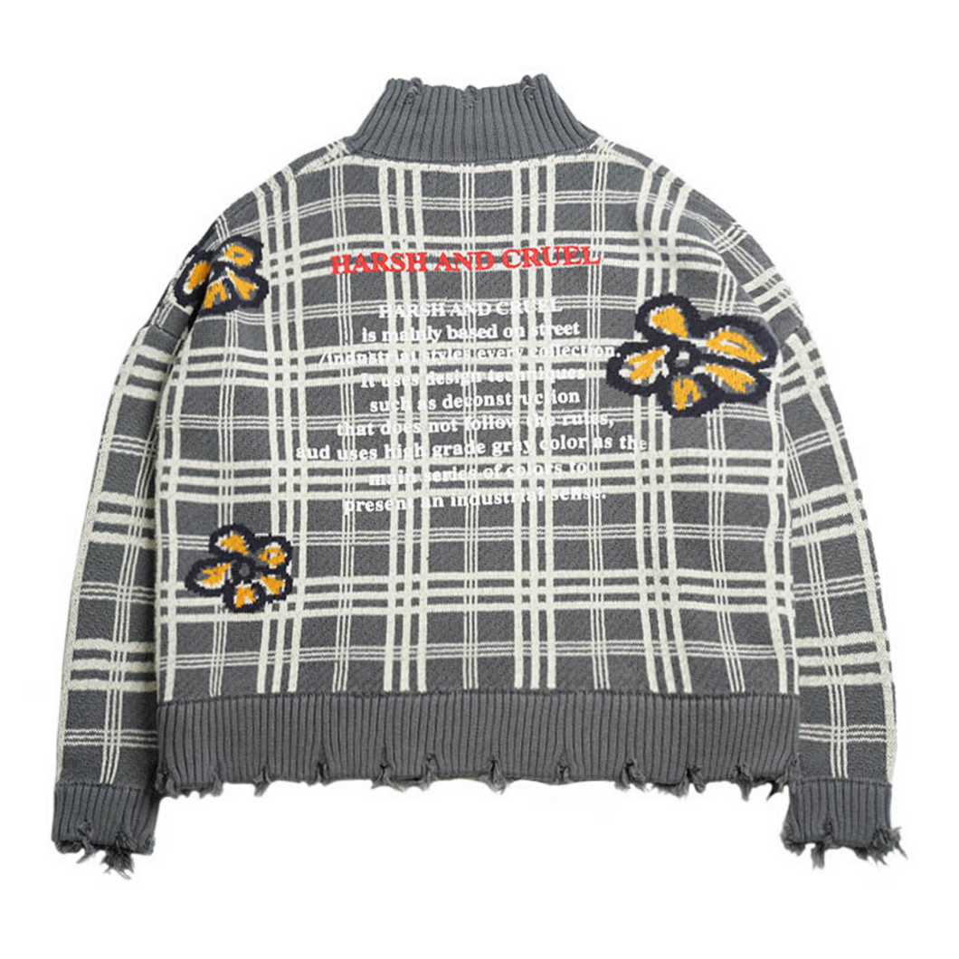 Plaid Flowers Turtleneck