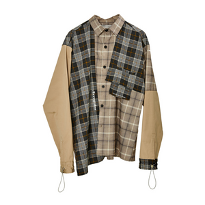 Plaid Stitching Shirt Jacket