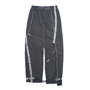 Reflective Strip Zipper Loose Trousers