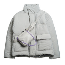 Load image into Gallery viewer, Detachable Leather Bag Logo Down Jacket