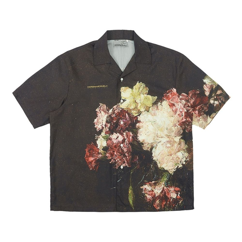Vintage Oil Painting Flower Cuban Shirt