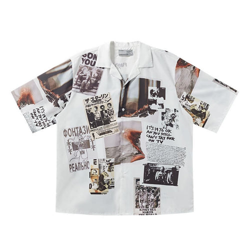 Newspaper Collage Cuban Shirt