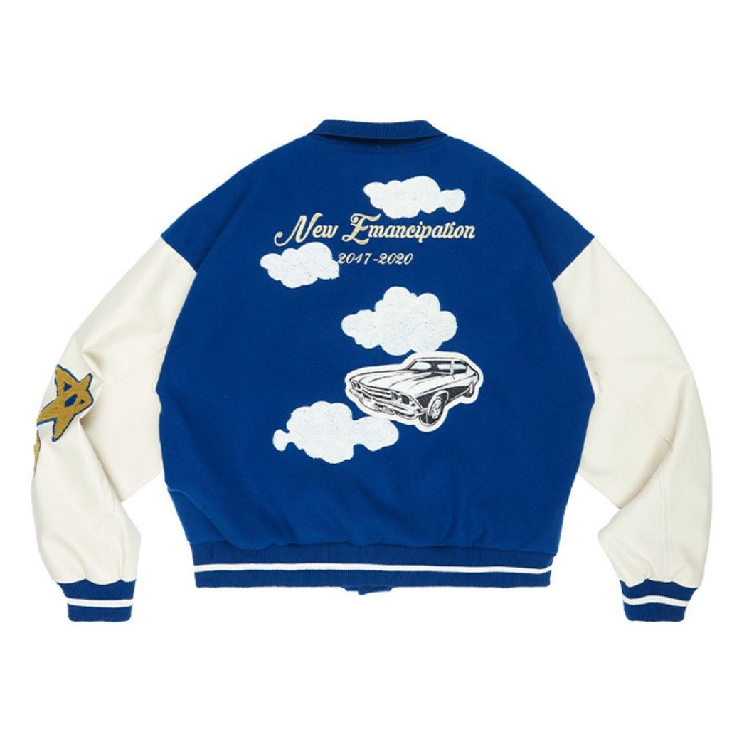Embroidered Clouds Woolen Varsity Jacket