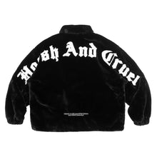 Load image into Gallery viewer, Embroidered Logo Faux Fur Jacket