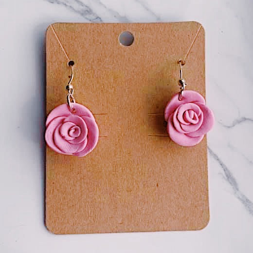 Pink Rose Polymer Clay Earrings
