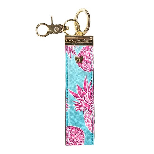 Pink Pineapple Leather Key Fob