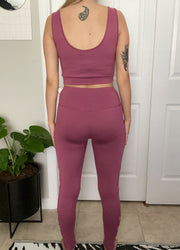 Deep Rose Brushed Poly Legging & Tank Set